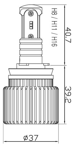 LEDデュアルフォグH8/H11/H16サイズ
